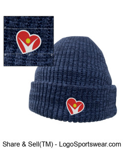 BLUE 3M Thinsulate Beanie Cap with Fleece Lining Design Zoom