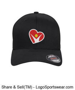 BLACK FlexFit Adult Twill Hat Design Zoom
